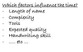 Les facteurs influents la durée de rédaction d'un prénom